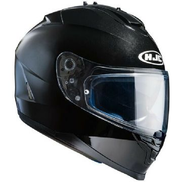 HJC IS-17 Plain Gloss Black Full Face Motorcycle Motorbike Helmet - Free Pinlock